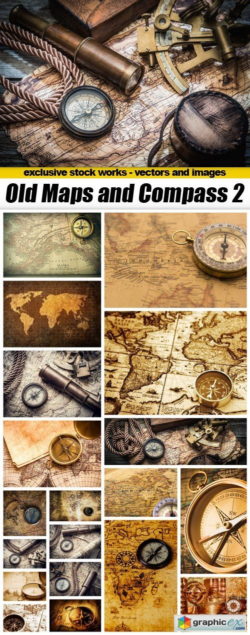 Old Maps and Compass 2 - 20xUQH JPEG