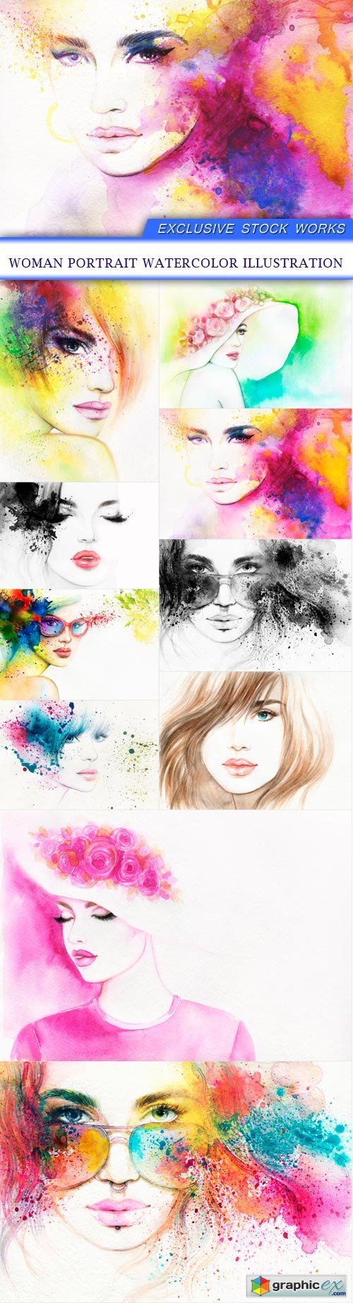 woman portrait watercolor illustration 10x JPEG