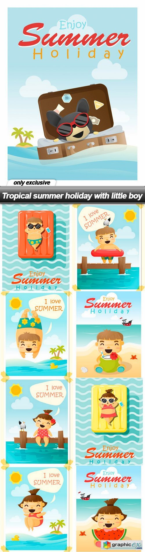 Tropical summer holiday with little boy - 9 EPS