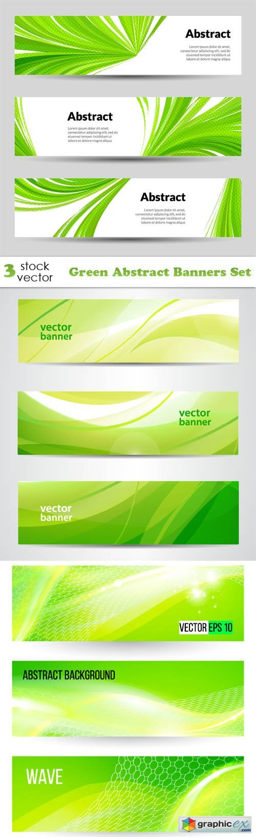 Green Abstract Banners Set