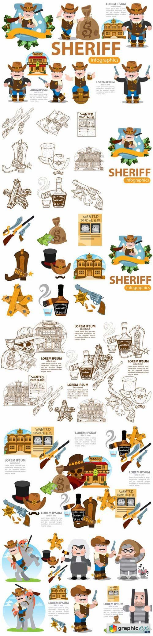 Sheriff. Wild West infographics set.