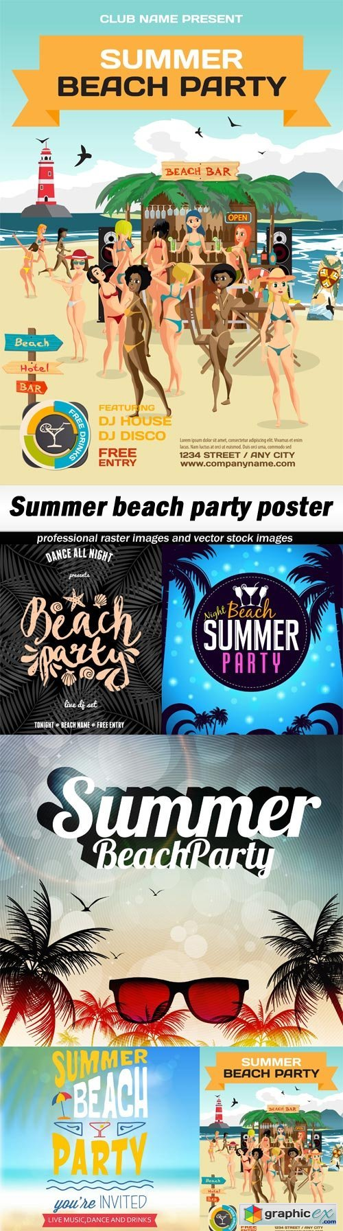 Summer beach party poster - 5 EPS