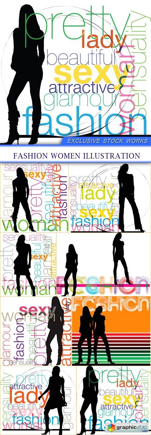 Fashion Women illustration 8x EPS