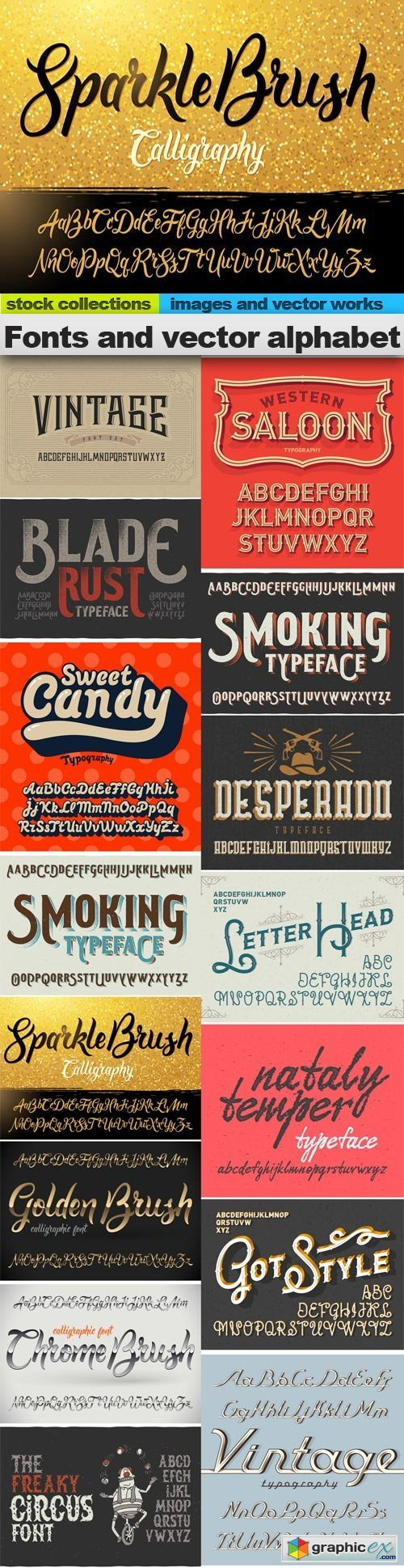 Fonts and vector alphabet,  15 x EPS