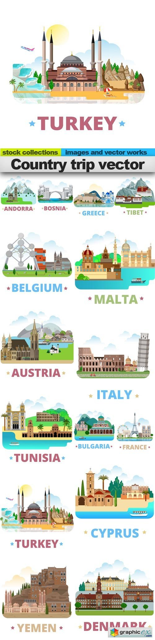 Country trip vector, 15 x EPS