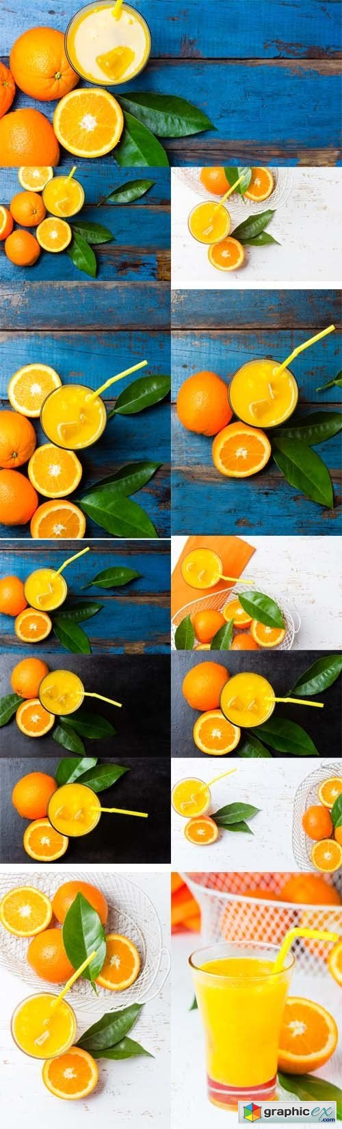 Photo Set - Glass of Freshly Squeezed Orange Juice and Fresh Oranges