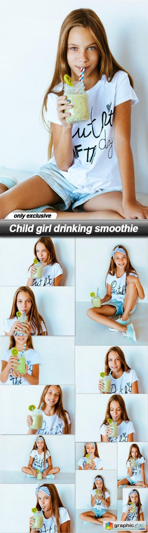 Child girl drinking smoothie - 13 UHQ JPEG