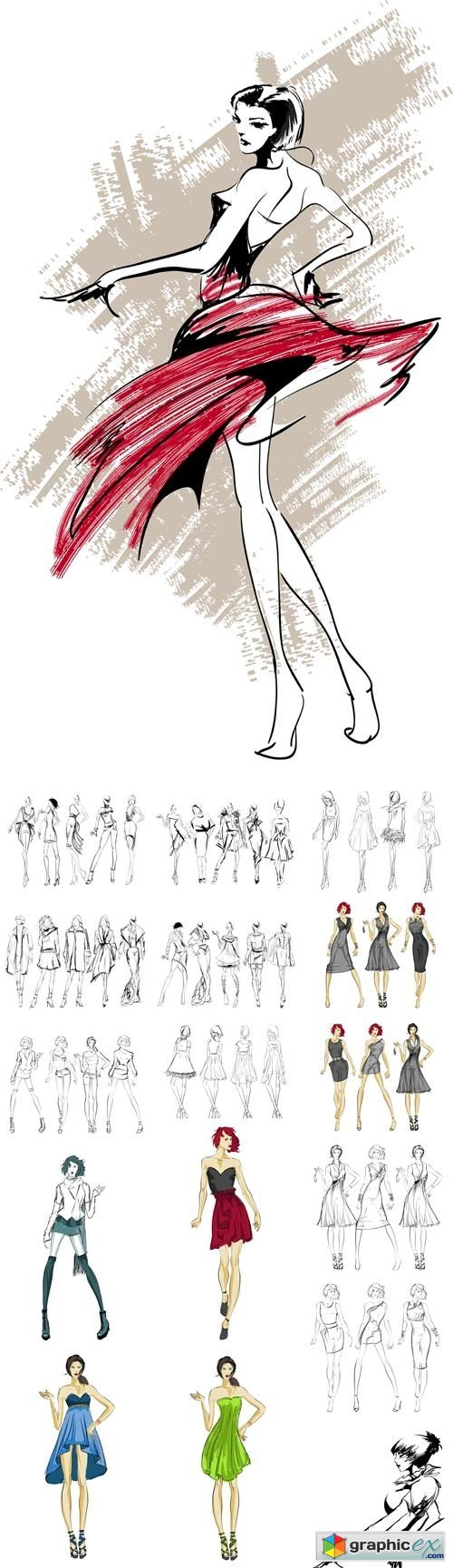 Sketch.Fashion Girls on a White Background