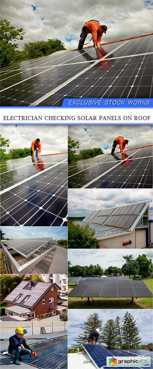 Electrician checking solar panels on roof 8X JPEG