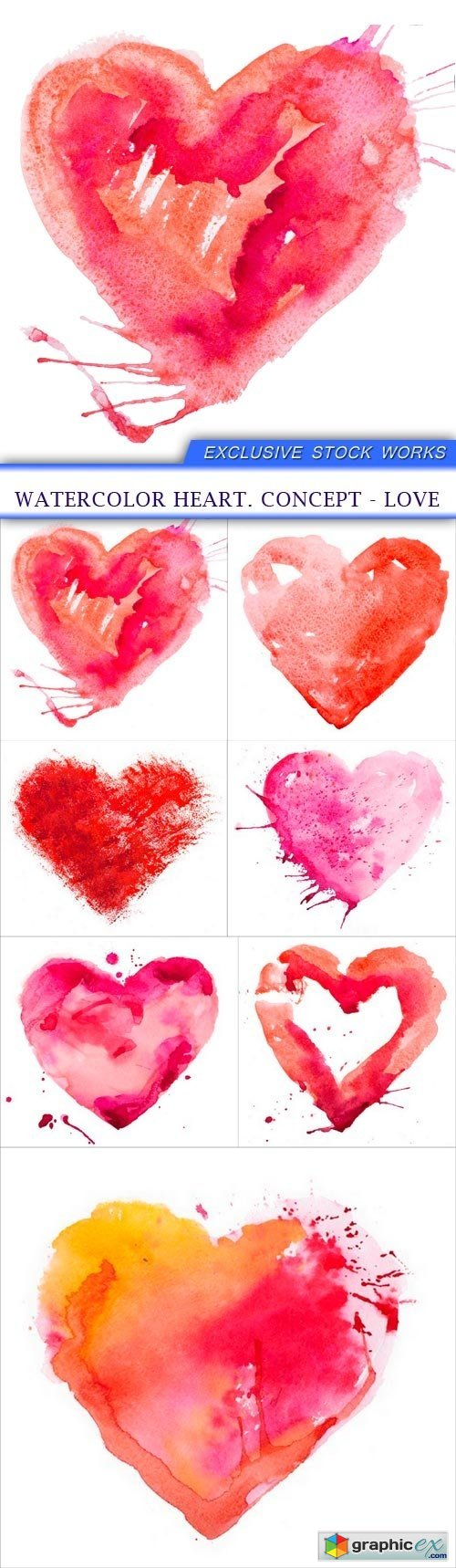 watercolor heart. Concept - love 7X JPEG