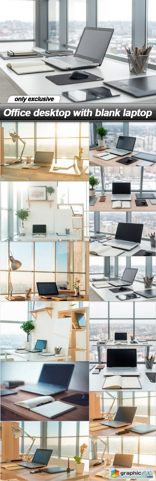 Office desktop with blank laptop - 14 UHQ JPEG