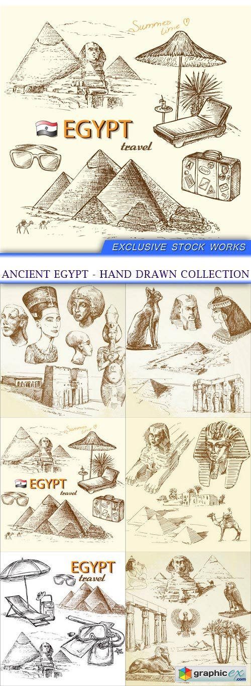 ancient egypt - hand drawn collection 6X EPS