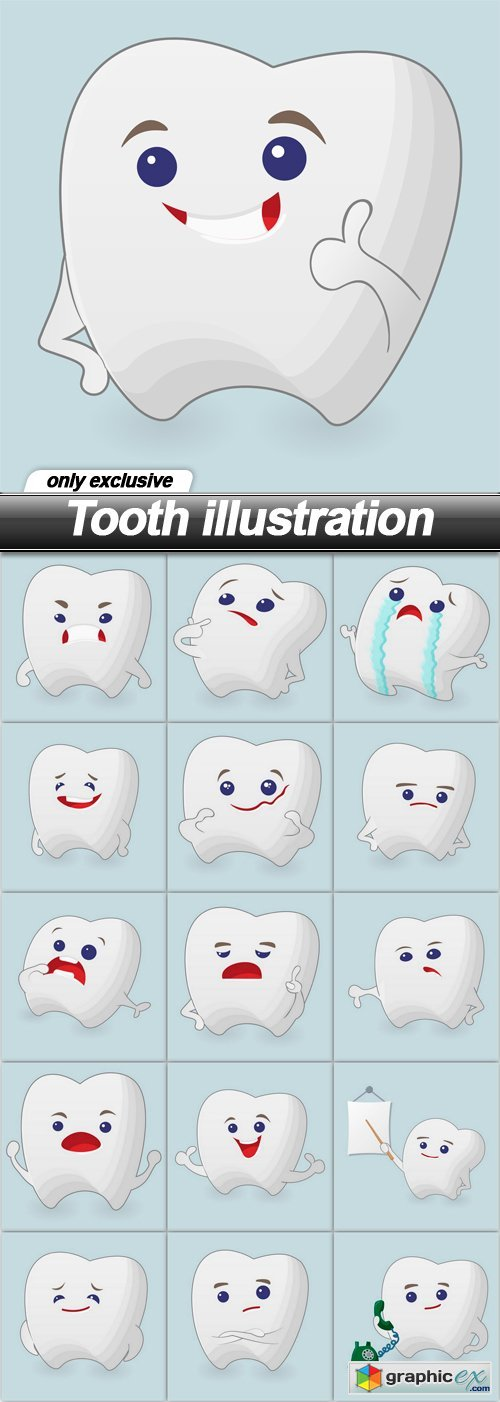 Tooth illustration - 16 EPS