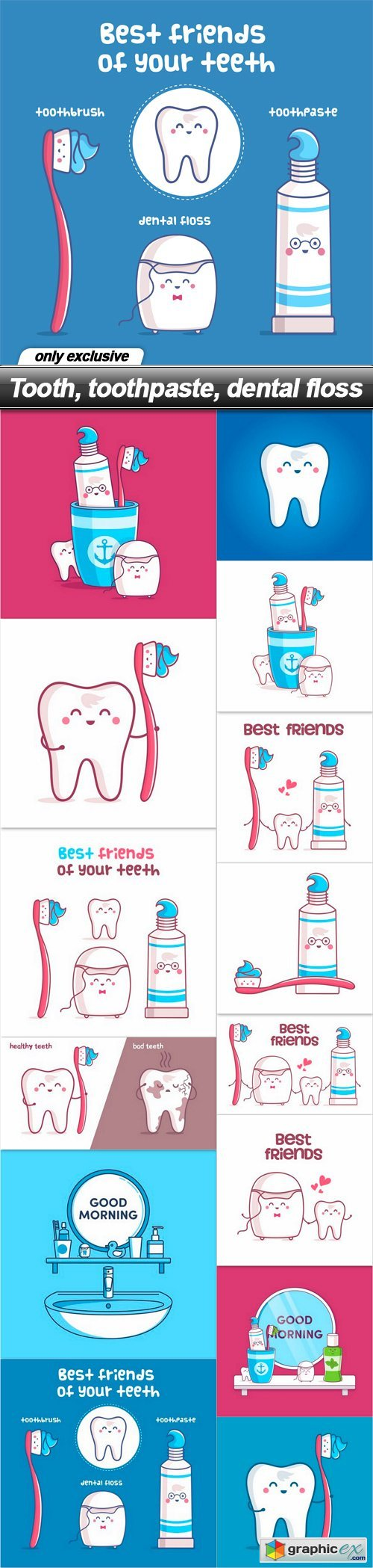Tooth, toothpaste, dental floss - 14 EPS