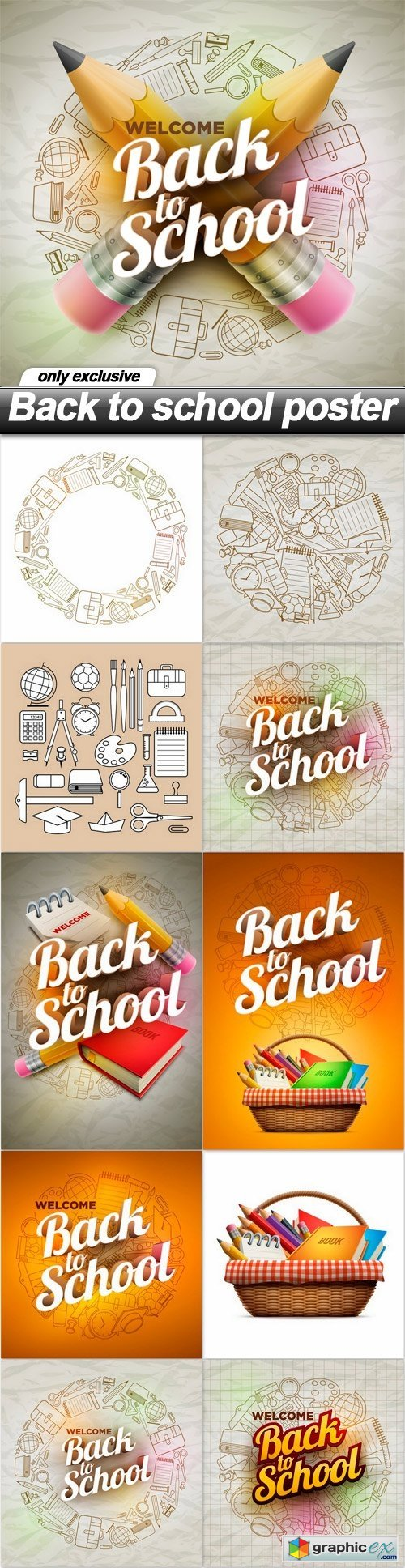 Back to school poster - 11 EPS