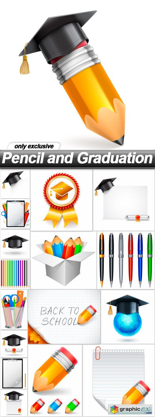 Pencil and Graduation - 17 EPS