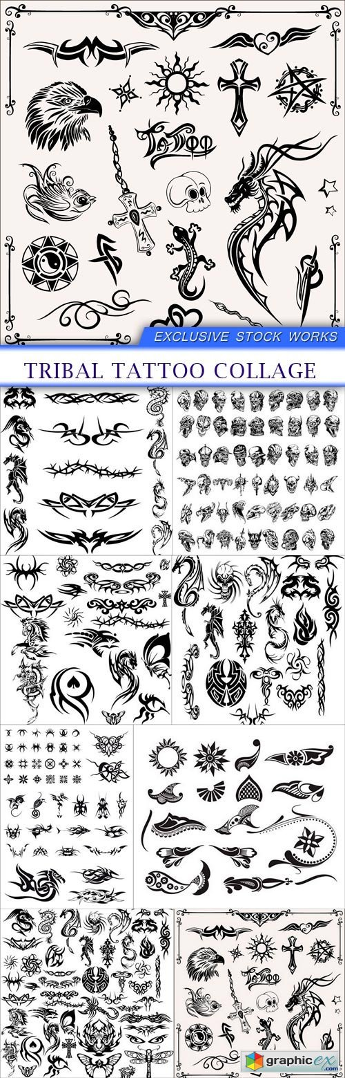 Tribal tattoo collage 8X EPS