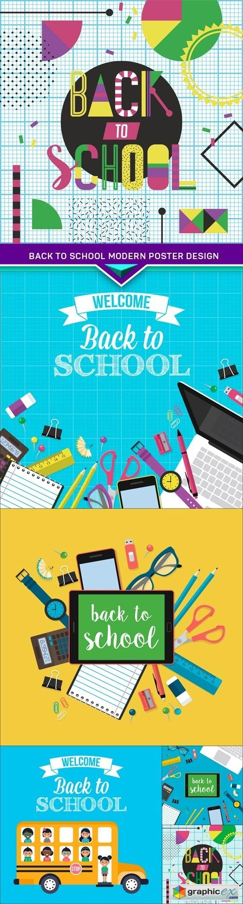 Back to school modern poster design 5X EPS