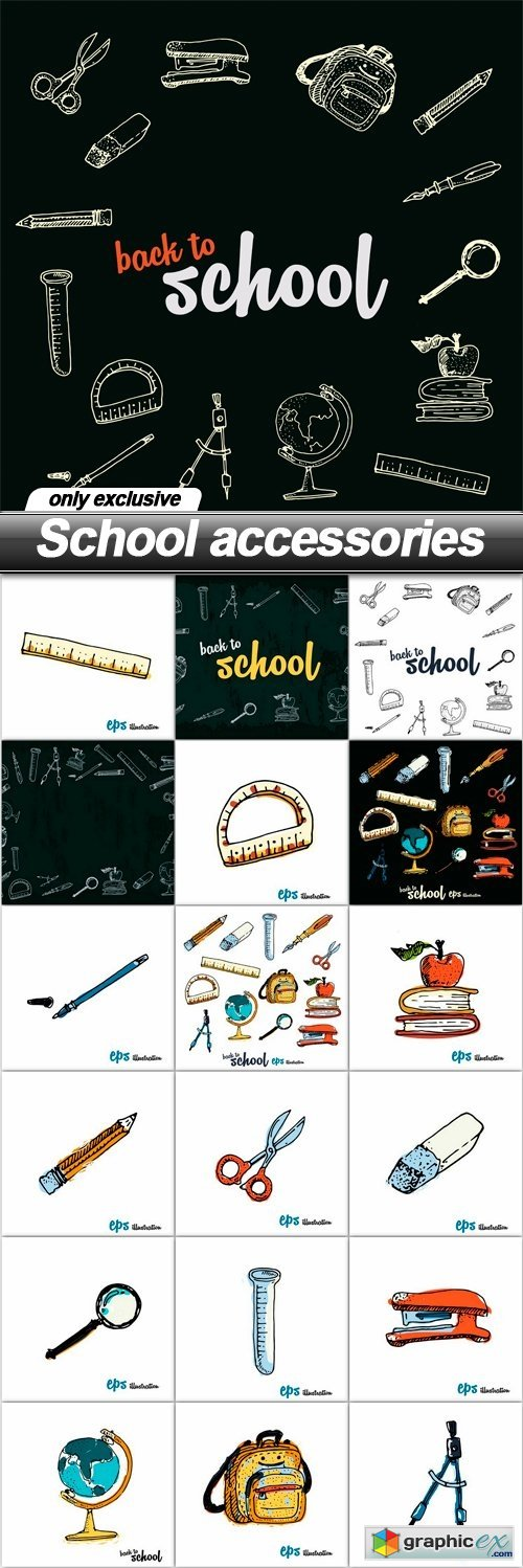 School accessories - 19 EPS