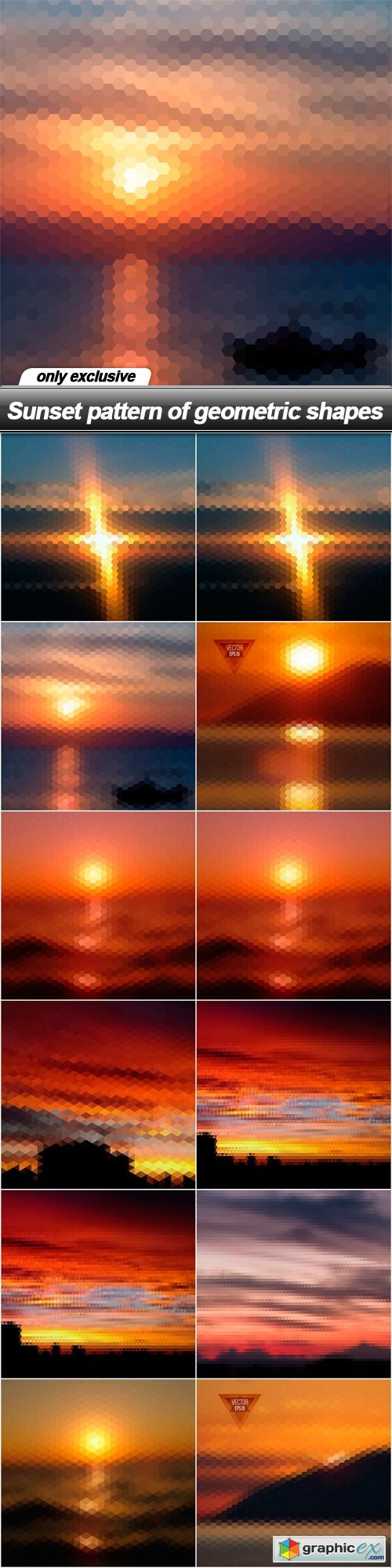 Sunset pattern of geometric shapes - 13 EPS