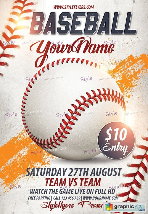 Baseball PSD Flyer Template + Facebook Cover