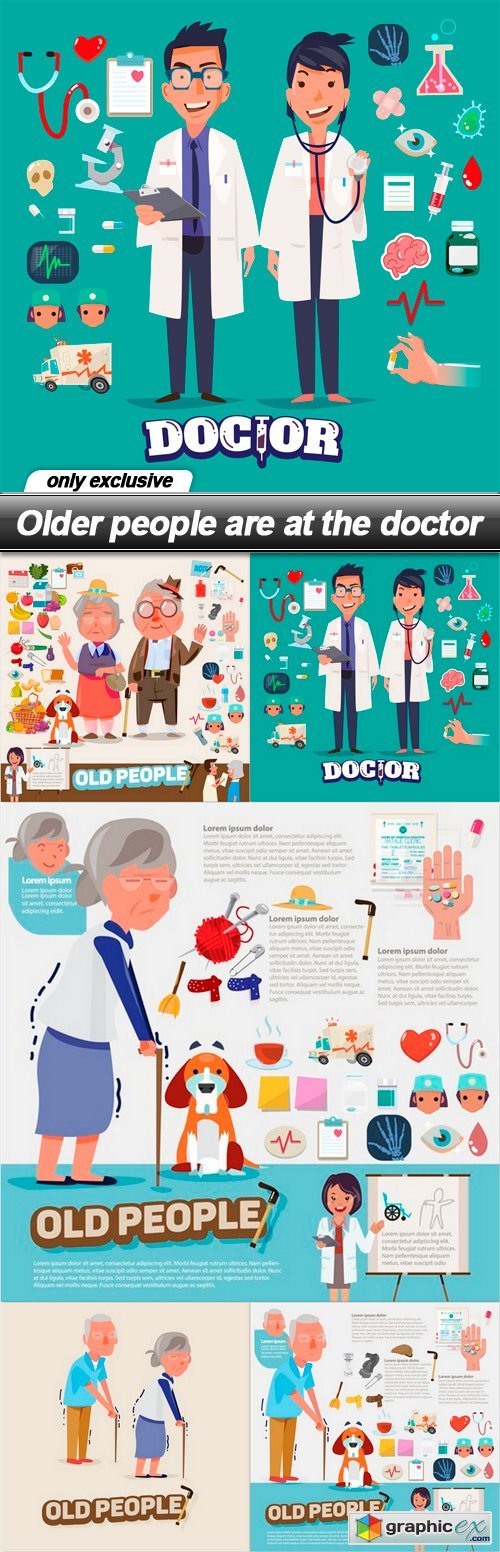 Older people are at the doctor - 5 EPS