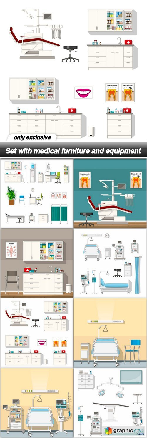 Set with medical furniture and equipment - 30 EPS