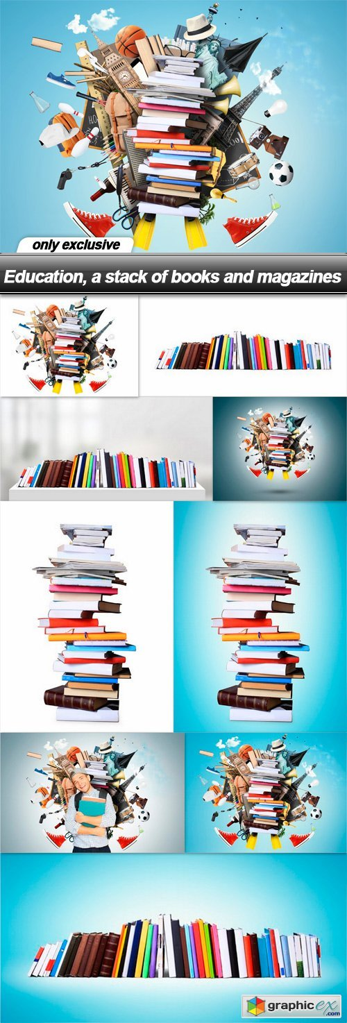 Education, a stack of books and magazines - 9 UHQ JPEG