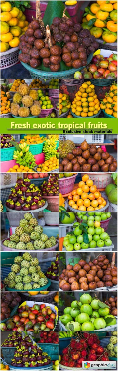 Fresh exotic tropical fruits for sale at an outdoor market, durians, mandarins, lemons