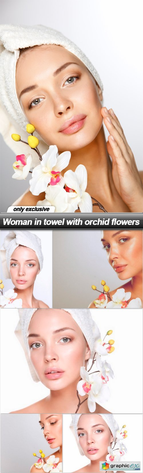 Woman in towel with orchid flowers - 6 UHQ JPEG