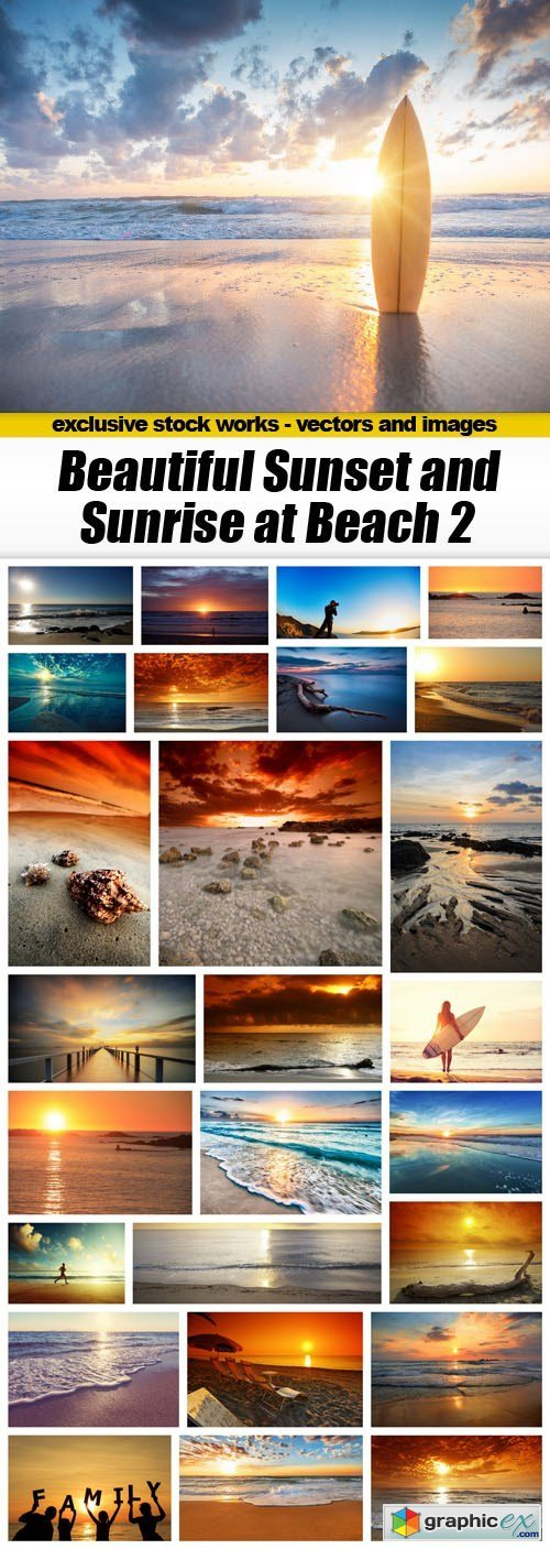 Beautiful Sunset and Sunrise at Beach 2 - 27xUHQ JPEG