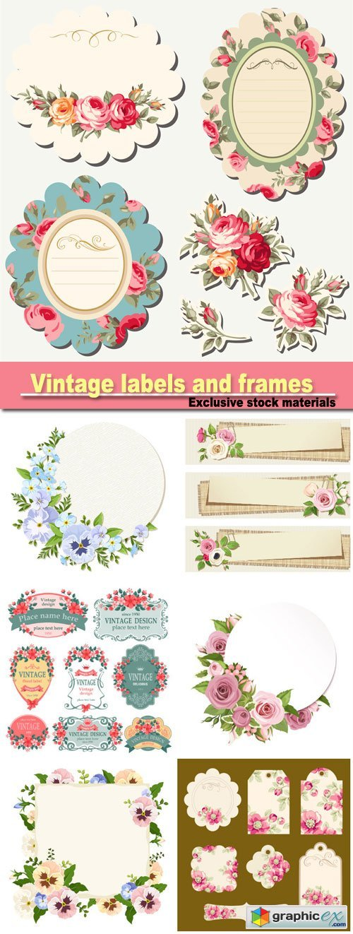 Vintage labels and frames with flowers