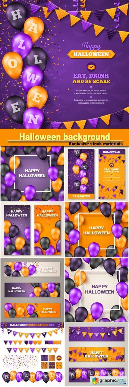 Halloween background with black, violet and orange balloons