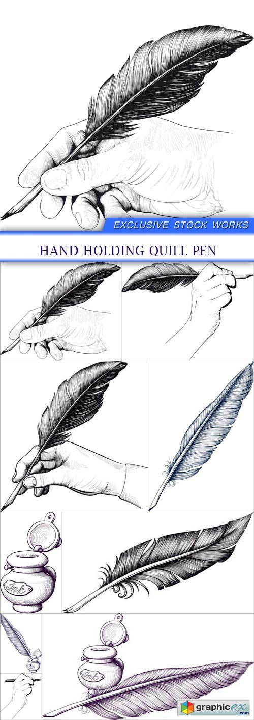 Hand holding quill pen 9X EPS
