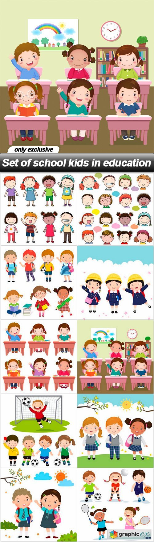 Set of school kids in education - 10 EPS