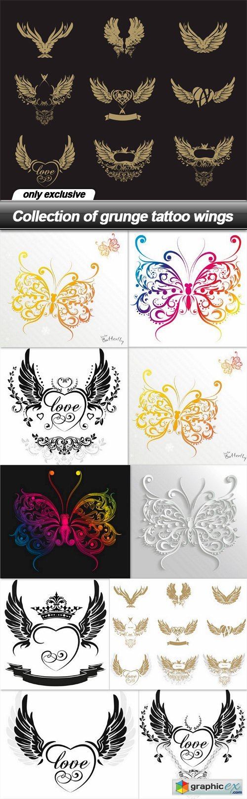 Collection of grunge tattoo wings - 11 EPS