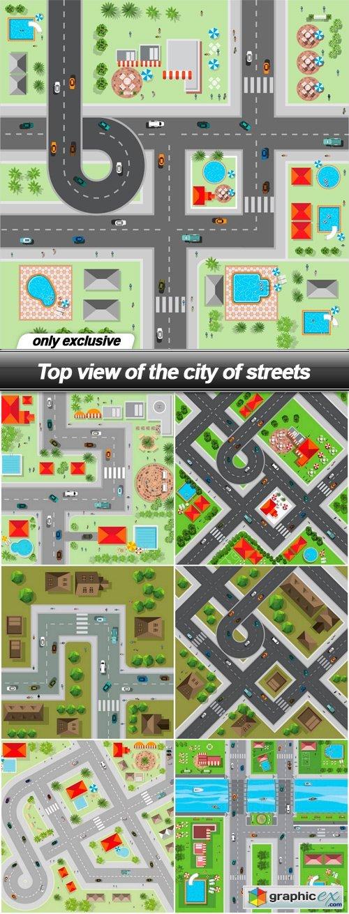 Top view of the city of streets - 7 EPS