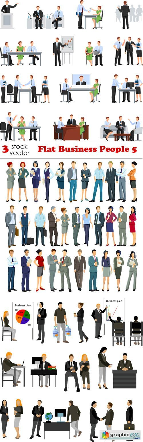 Flat Business People 5