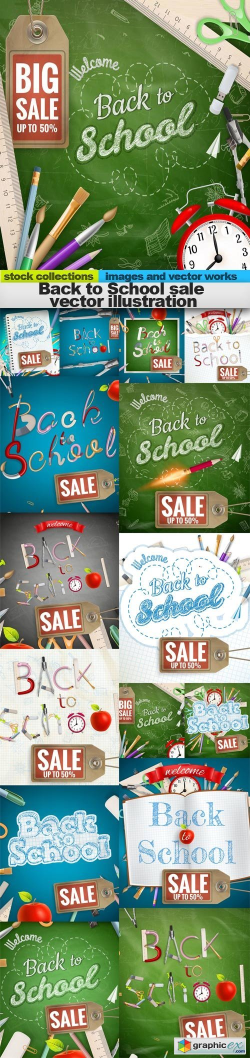 Back to School sale vector illustration, 15 x EPS