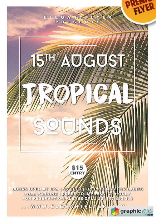 Tropical Sounds V6 Flyer PSD Template + Facebook Cover