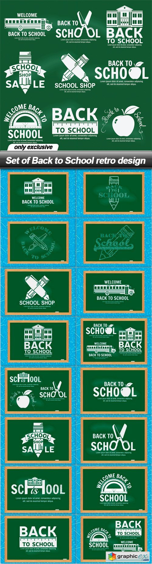Set of Back to School retro design - 17 EPS
