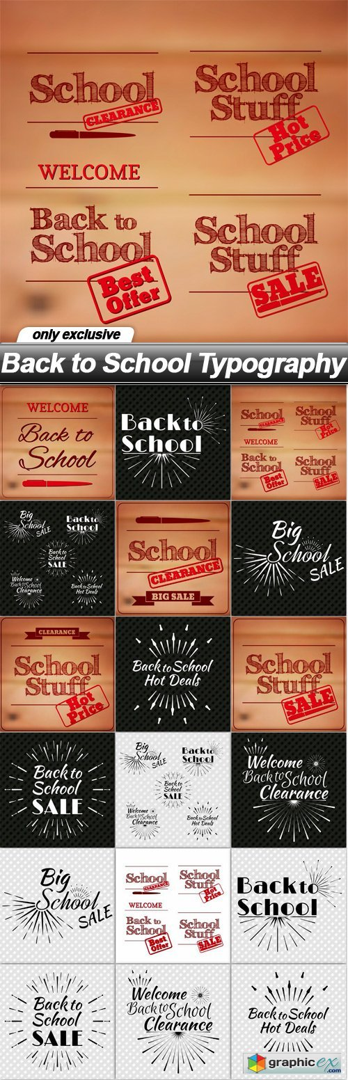 Back to School Typography - 18 EPS