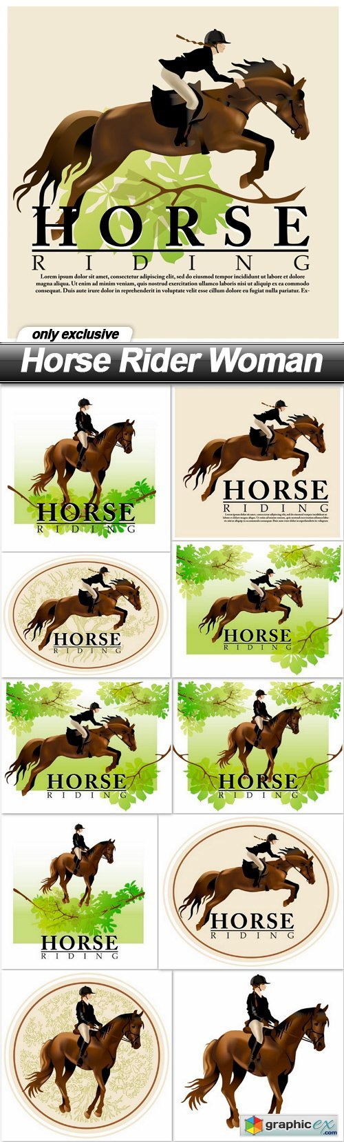 Horse Rider Woman - 11 EPS