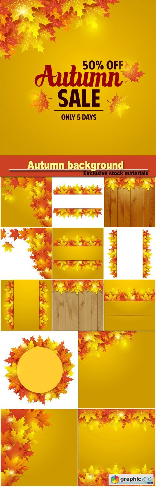 Autumn background, yellow autumn leaves in a vector