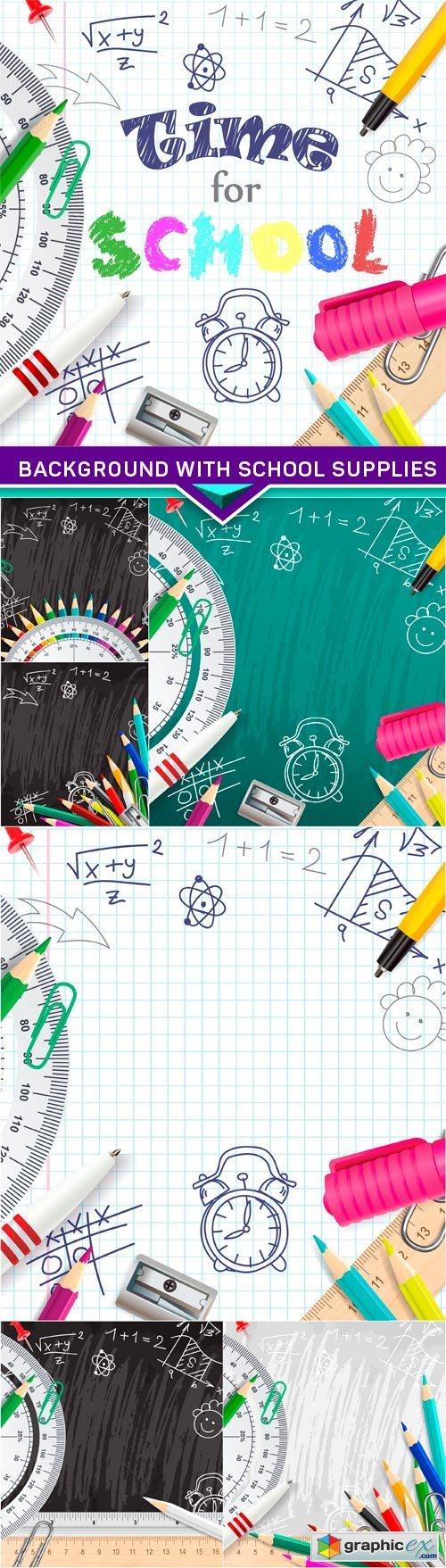 Creative vector chalk background with school supplies 7X EPS