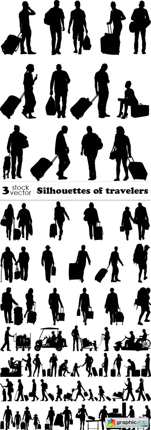 Silhouettes of travelers