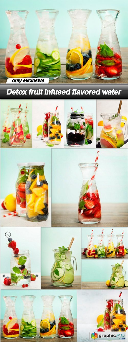Detox fruit infused flavored water - 12 UHQ JPEG