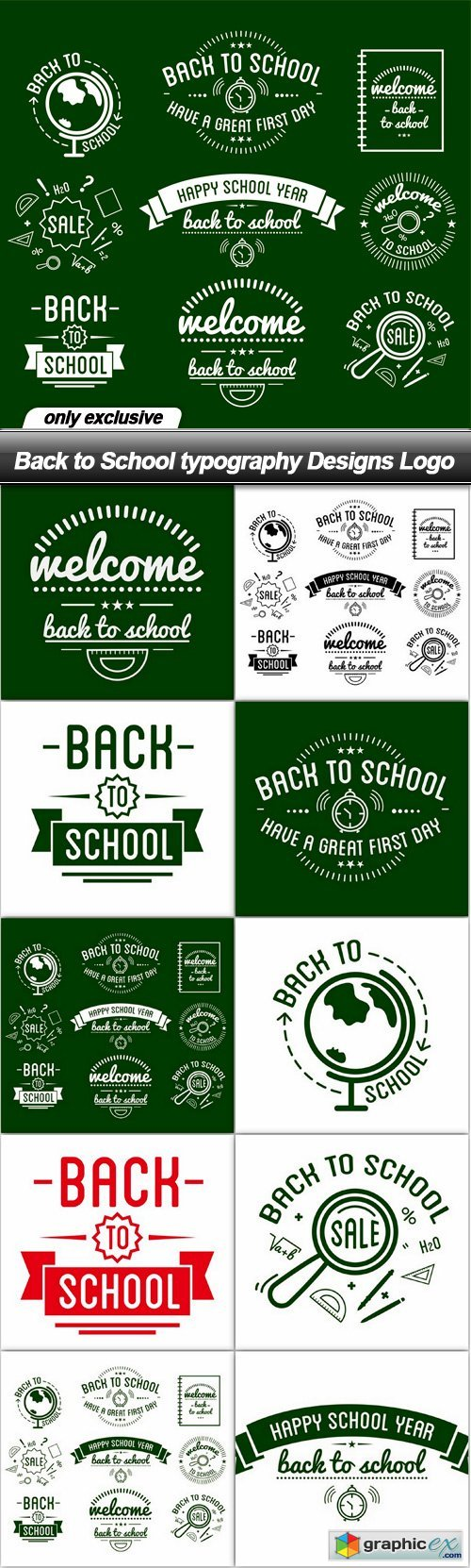 Back to School typography Designs Logo - 10 EPS