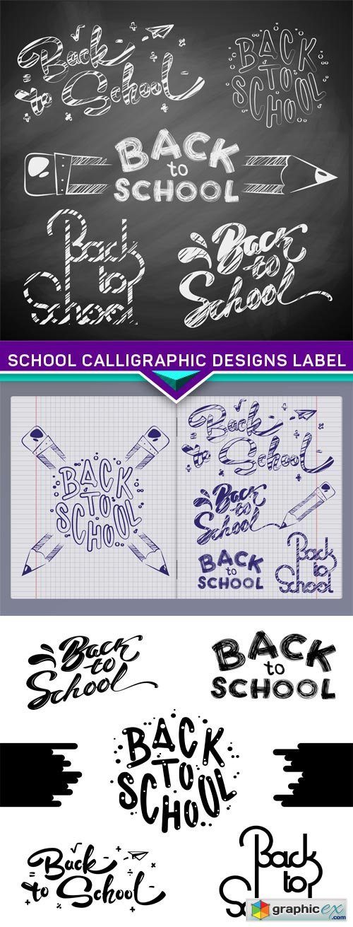 School Calligraphic Designs Label 3X EPS