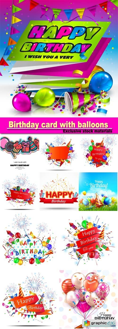 Birthday card with colorful balloons, confetti, stars, ribbon and bow on dotted background